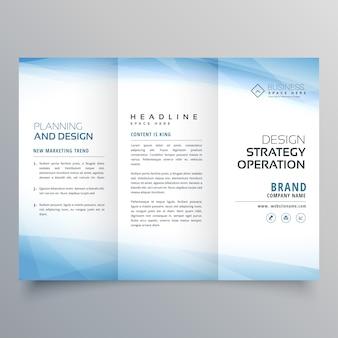 Modello di progettazione di brochure trifold blu aziendale