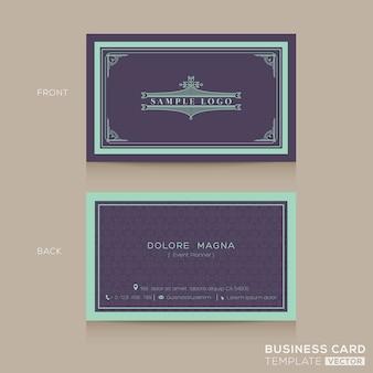 Modello di progettazione di namecard di biglietto da visita classico vintage