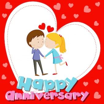 Modello di scheda anniveraria con baciare coppia di amore