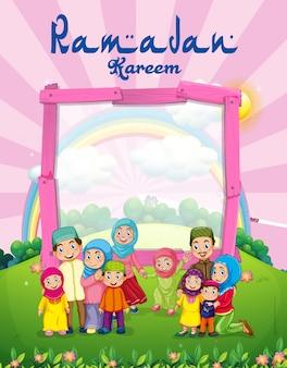 Modello di sfondo con la famiglia musulmana nel parco