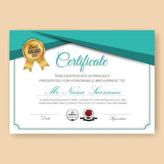 Modello di sfondo moderno certificato certificato con il colore del turchese