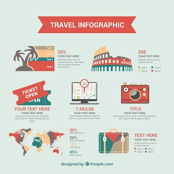 Modello Infographics con elementi di viaggio retrò in design piatto
