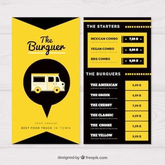 Modello menu menu camion cibo moderno