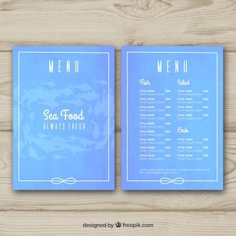 Modello menu menu frutti di mare