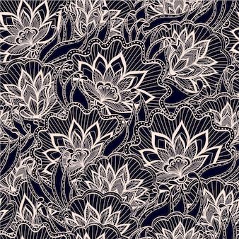 Modello primavera con fiori disegnati a mano