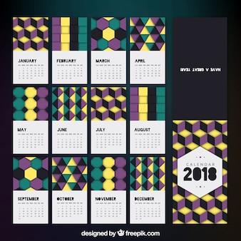 Moderna 2018 calendario con forme geometriche