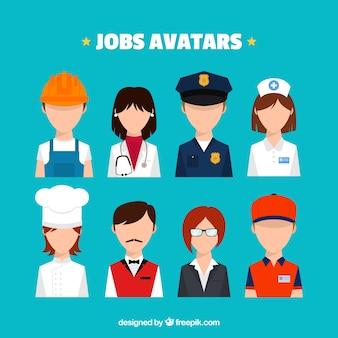 Moderno pacchetto di avatar di posti di lavoro