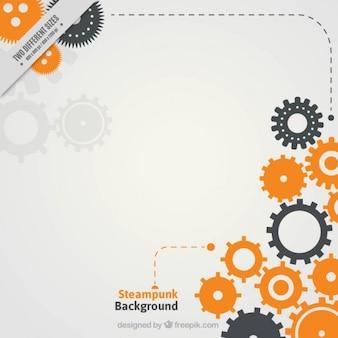 Moderno sfondo Steampunk in design piatto