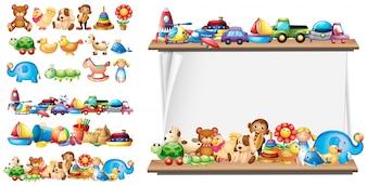 Molti tipi di giocattoli e modello di carta