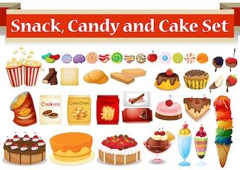 Molti tipo di snack e caramelle illustrazione