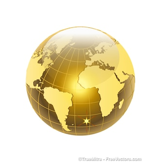 Mondo dorato con Atlantic Ocean View