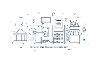 Money Internet, concetto di sicurezza dei pagamenti. Fintech (tecnologia finanziaria) sfondo. Stile illustrato piatto.