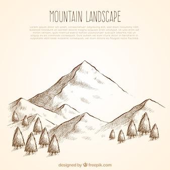 Montagna foresta schizzo sfondo