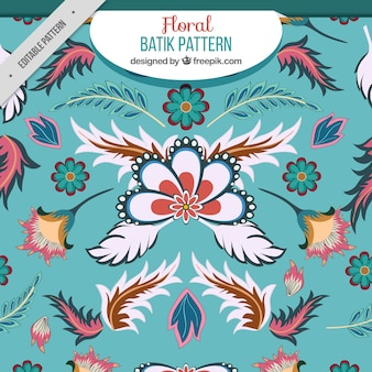 Motivo floreale con foglie in stile batik