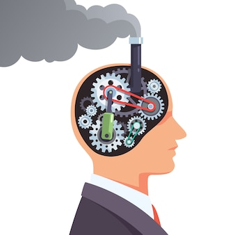 Motore del cervello di Steampunk con dentelli e ingranaggi