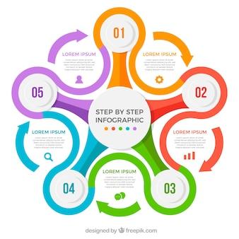 Multicolore modello di infografica con freccia