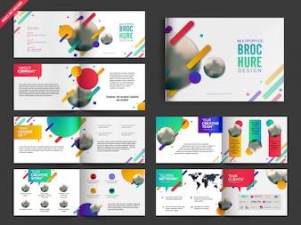 Multipagina opuscoli, volantini Pack Design con un colorato disegno astratto