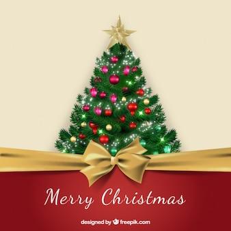 Nastro rosso facendo un albero di Natale