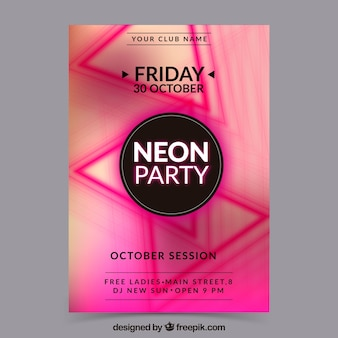 Neon party poster