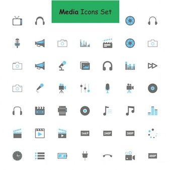 Nero e grigio media set di icone