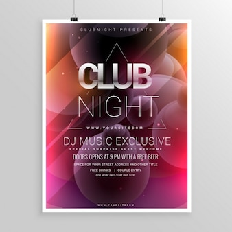 Night club party template volantino con data e ora dettagli