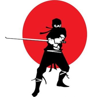 Ninja con katana giapponese su sfondo bandiera