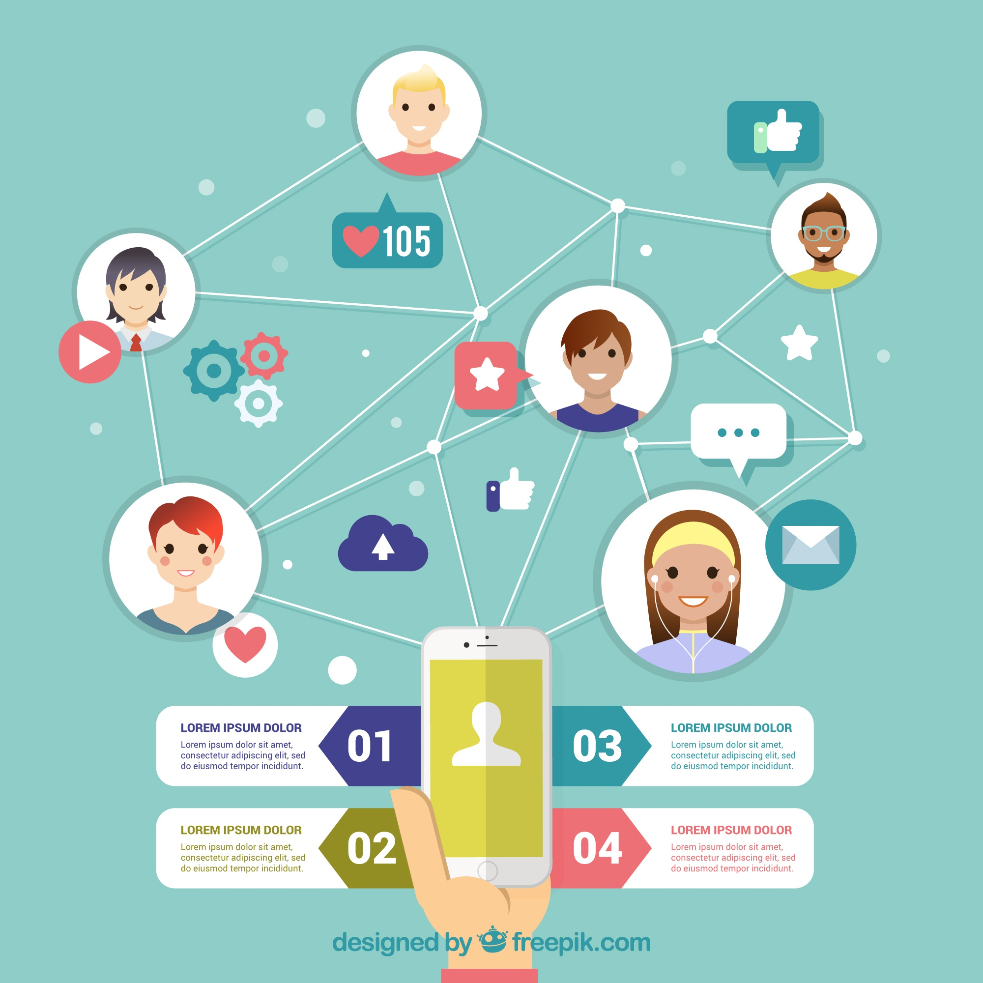 Nizza infografica di social networking in design piatto