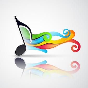 Nota di musica vettoriale con l'ondata che esce