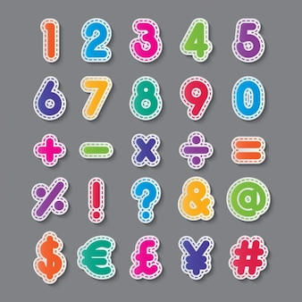 Numeri e simboli di colori