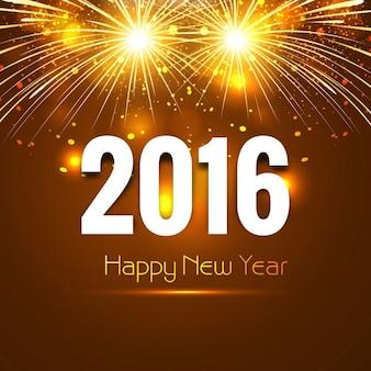 Nuovo anno 2016 scheda con i fuochi d'artificio
