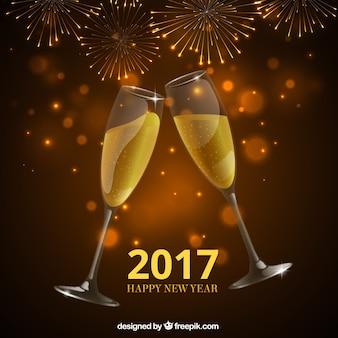 Nuovo anno brindisi di champagne sfondo