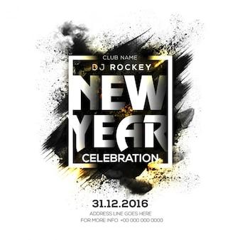 Nuovo poster anno party con macchia nera e dettagli dorati