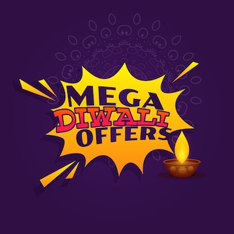 Offerta di offerta di mega diwali festival banner design vettoriale