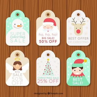 Offerta etichette collezione di bei caratteri di Natale