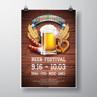 Oktoberfest illustrazione vettoriale poster con birra fresca lager su sfondo texture di legno. Modello di spettacolo di festa per la tradizionale festa della birra tedesca.