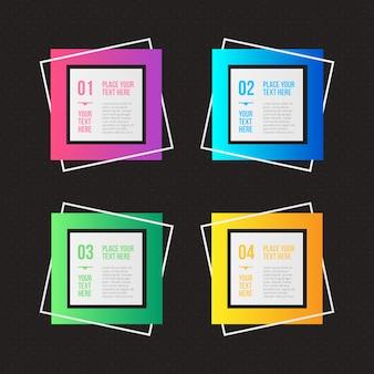 Opzioni infographic geometriche con colori diversi