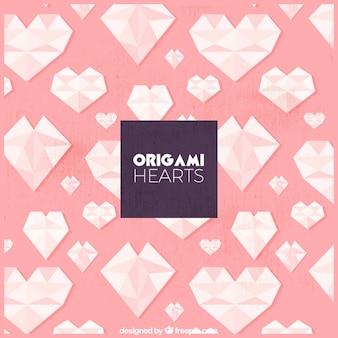 Origami cuori sfondo