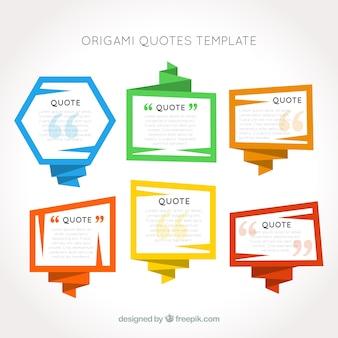 Origami incornicia modello citazioni