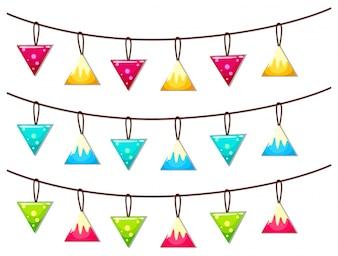 Ornamenti appesi sulla linea illustrazione