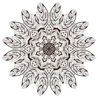 Ornamento vettoriale rotondo in stile etnico Disegna a mano