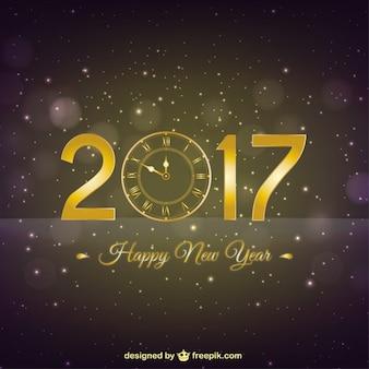 Oro vecchio orologio sfondo del nuovo anno