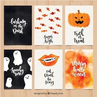Pacchetto classico di carte halloween acquerello