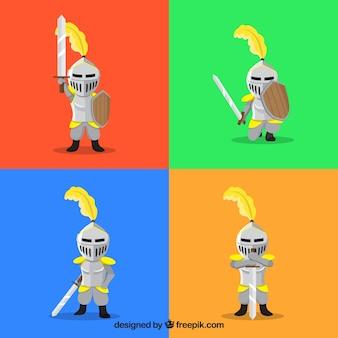 Pacchetto colorato di cavalieri medievali
