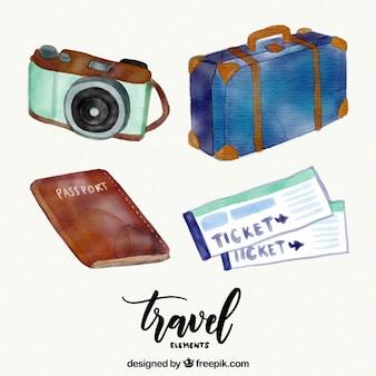 Pacchetto di elementi acquerello utili per viaggiare