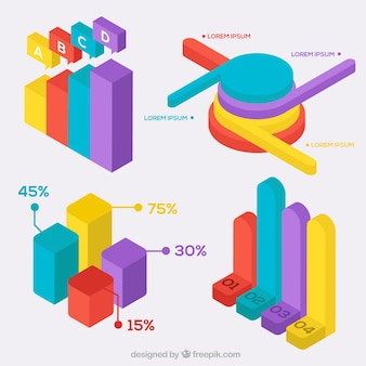 Pacchetto di grafici colorati isometrici