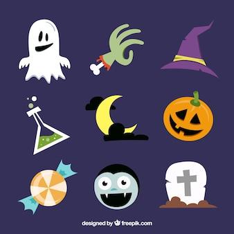 Pacchetto di oggetti di luna e di Halloween