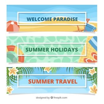 Pacchetto di tre bandiere per vacanze estive