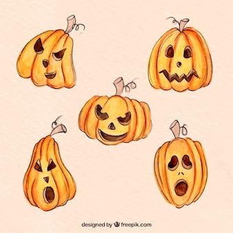 Pacchetto di zucche di halloween acquerello