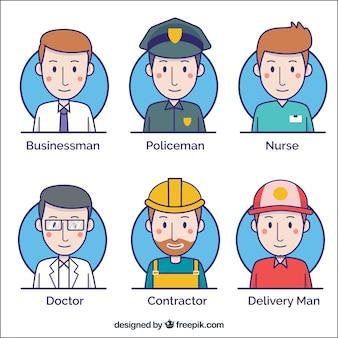 Pacchetto disegnato a mano di avatar maschili