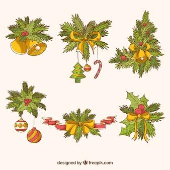 Pacchetto disegnato a mano di ornamenti di natale